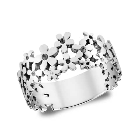 Handmade Mini Daisies Sweet Floral .925 Sterling Silver Ring (Thailand)