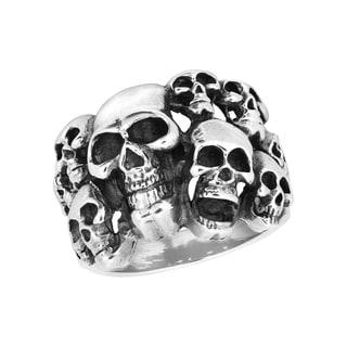 Handmade Gothic Bundle Skulls .925 Sterling Silver Ring (Thailand)