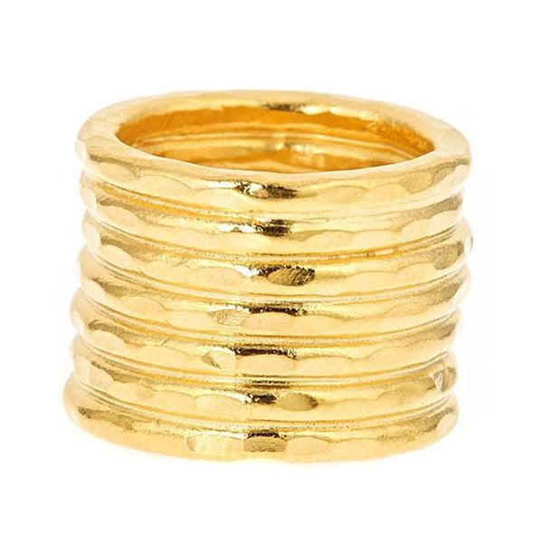 Bita Pourtavoosi Handmade 24k Yellow Gold Plated 'Stuck Together' Stacks Trend Fashion Ring