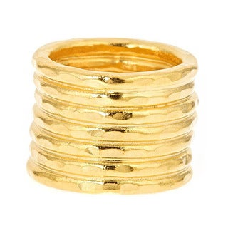 Bita Pourtavoosi Handmade 24k Yellow Gold Plated 'Stuck Together' Stacks Trend Fashion Ring