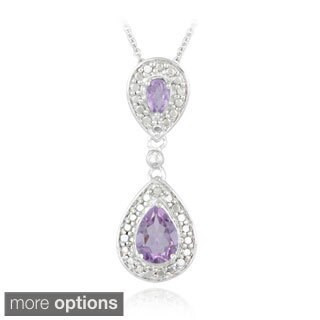 Glitzy Rocks Gemstone And Diamond Accent Teardrop Necklace