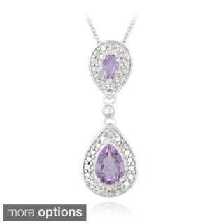 Glitzy Rocks Gemstone And Diamond Accent Teardrop Necklace