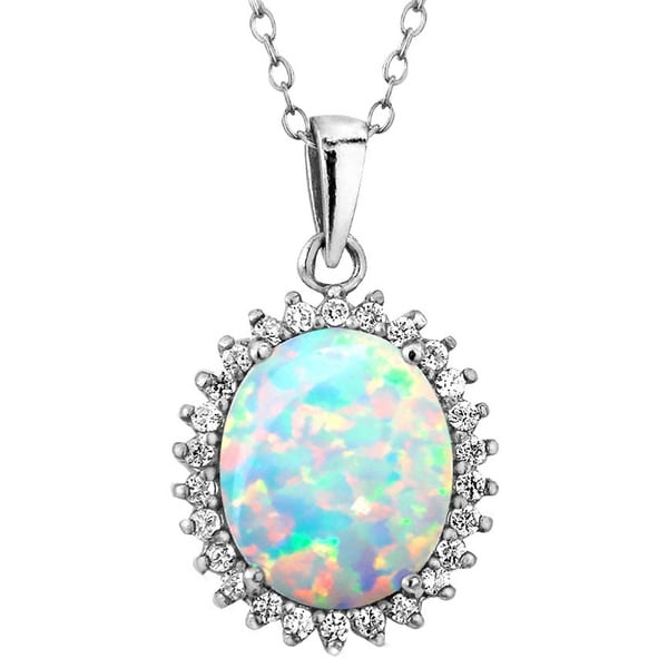 de32b3a9315e48 Glitzy Rocks Sterling Silver Created Opal and Cubic Zirconia Necklace
