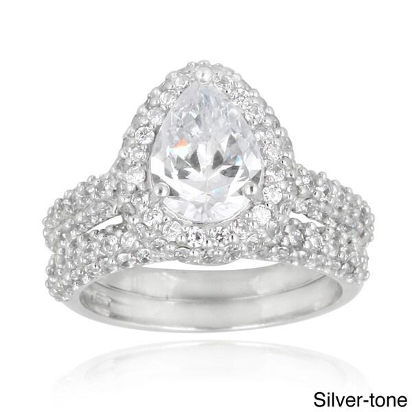 Icz Stonez Cubic Zirconia Engagement-style Ring Set