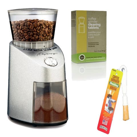 Capresso 565.05 Infinity Conical Burr Grinder (Stainless Steel) Includes Brush and Cleaning Tablets