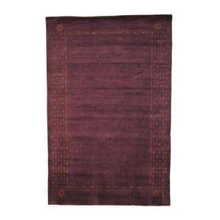Herat Oriental Indo Hand-knotted Gabbeh Purple/ Red Wool Rug (6' x 9')