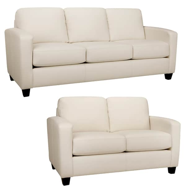 Shop Bryce White Italian Leather Sofa and Loveseat - On Sale ...