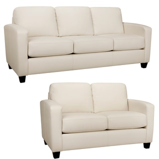 Bryce White Italian Leather Sofa and Loveseat