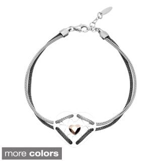 La Preciosa Sterling Silver Double-Strand Mesh Heart with Bracelet