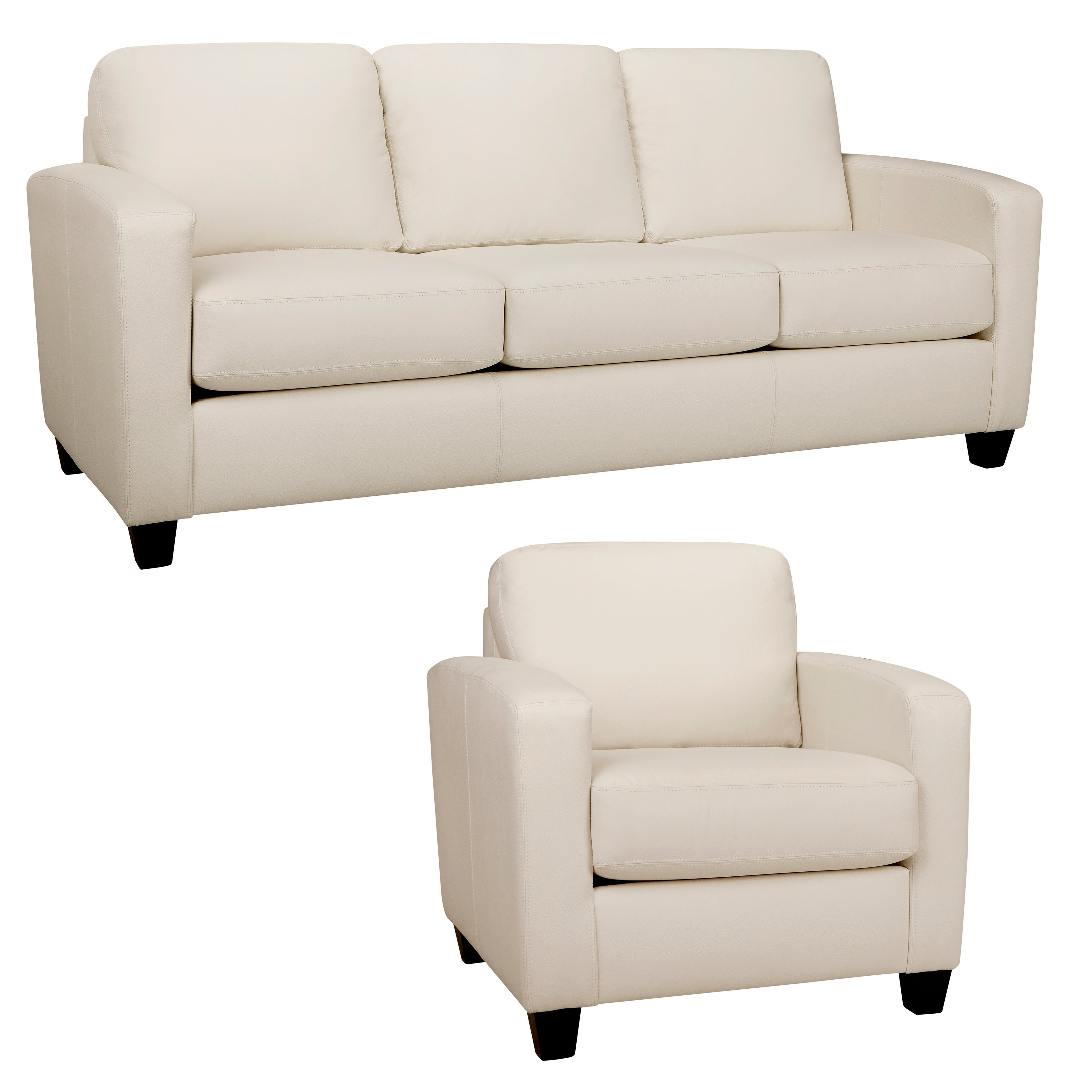 Bryce White Italian Leather Sofa and Chair