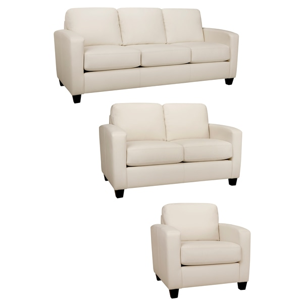 Bryce White Italian Leather Sofa, Loveseat And Chair