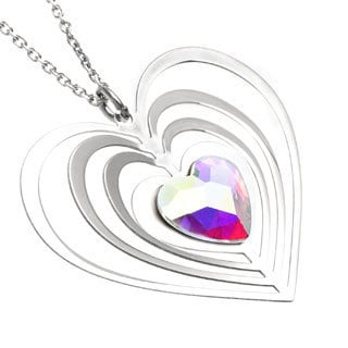 La Preciosa Sterling Silver Aurora Borealis Heart Necklace