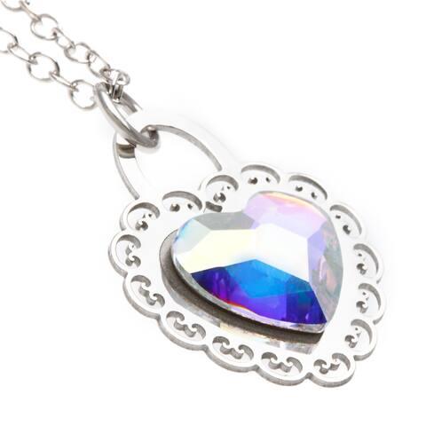 La Preciosa Sterling Silver Aurora Borealis Heart Necklace