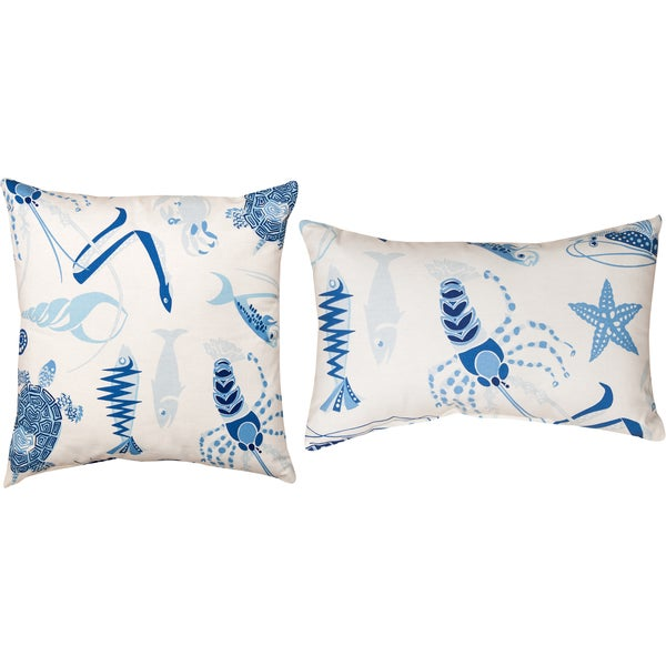 Manual Woodworkers Nautical Fish Tale Harbor Decorative Pillows (Set of 2)