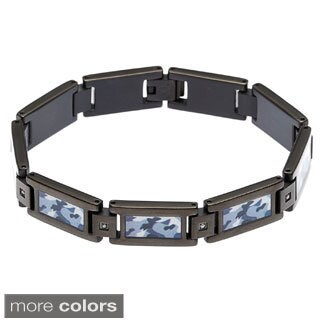 Stainless Steel 1/10ct TDW Diamond Camo Bracelet