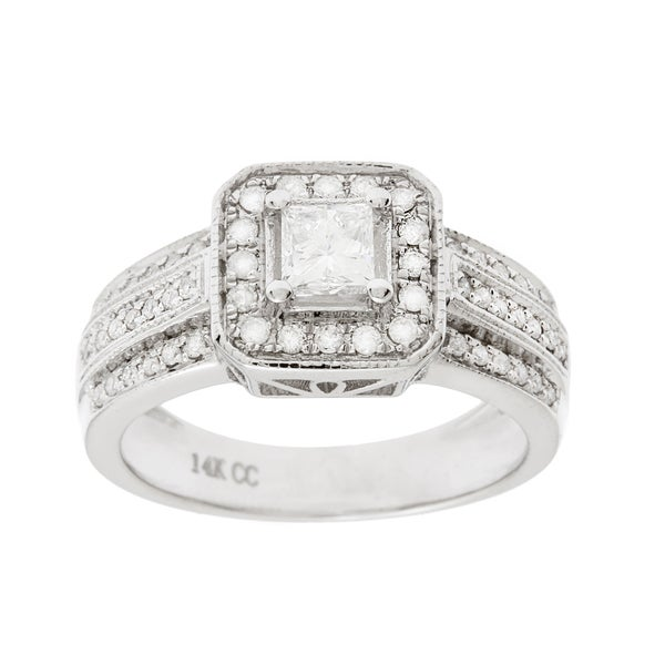 14k White Gold 1 ct TDW Princess-Cut Diamond Bridal Engagement Ring(G-H, I1-I2)