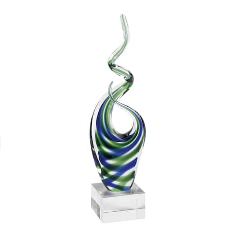 14-inch Ocean Blue & Green Art Glass Centerpiece
