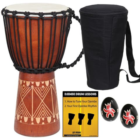 Groove Djembe Drum with Bag, Shakers and Lessons