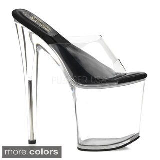 Pleaser Women's 'Sol-801' Clear 8-inch Slide Platform Heels