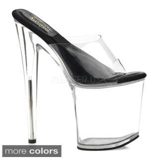 Pleaser Women's 'Sol-801' Clear 8-inch Slide Platform Heels