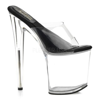 Pleaser Women's 'Sol-801' Clear 8-inch Slide Platform Heels (2 options available)