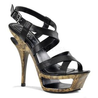 Pleaser Day & Night Women's 'Deluxe-636' Leather Platform Criss Cross Sandals