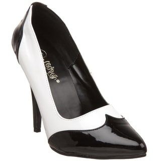 Pleaser Women's 'Seduce-425' Black/ White Spectator Pumps