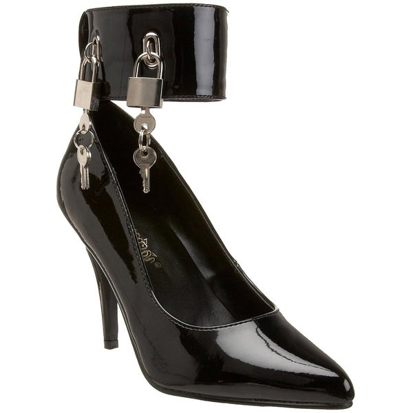 Pleaser Women's 'Vanity-434' Black Padlock Ankle Cuff Pumps