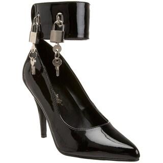 Pleaser Women's 'Vanity-434' Black Padlock Ankle Cuff Pumps