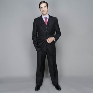 Cornel Black 2-Button Vested Suit