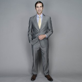 Men's Grey Sharkskin 2-button Wool and Silk Blend Suit