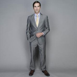 Men's Grey Sharkskin 2-button Wool and Silk Blend Suit