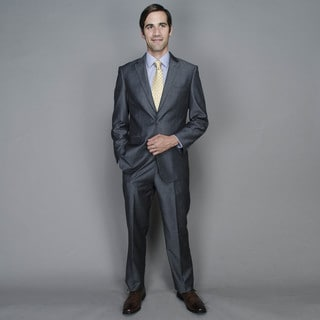 Grey Sharkskin 2-button Wool and Silk Suit