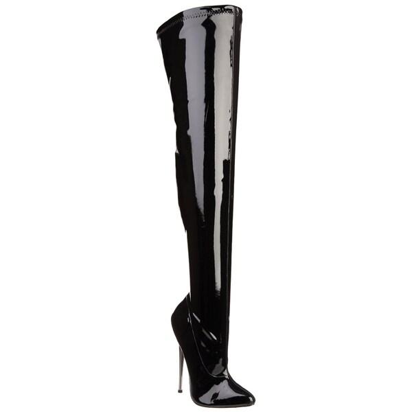 Devious Women's 'Dagger-3000' Black Stretch Patent Thigh-high Brass Heel Boots