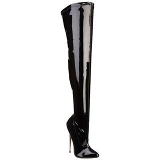 Devious Women's 'Dagger-3000' Black Stretch Patent Thigh-high Brass Heel Boots