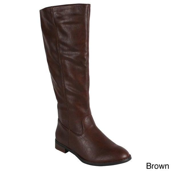 Reneeze 'APPLE-2' Women's Side Zip Knee-High Riding Boots