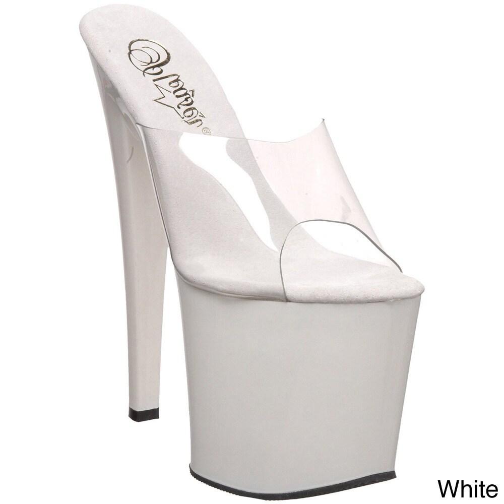 Pleaser Taboo-701' Stiletto Heel Platforms (Clear/White-6...