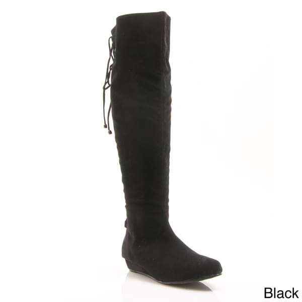 gomax agatha 12 knee high back lace up wedge boots