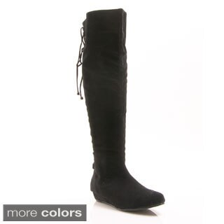 Gomax 'Agatha 12' Knee-high Back Lace-up Wedge Boots