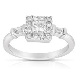 Eloquence 14k White Gold 5/8 TDW Princess and Baguette Cut Diamond Ring