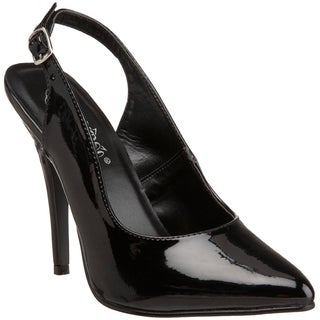 Pleaser Women's 'Seduce-317' Black Slingback Pointed Toe Pumps