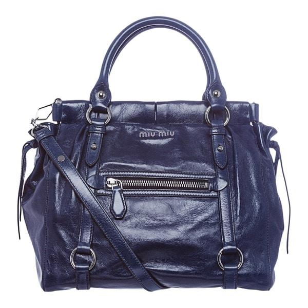Miu Miu 'Lux' Blue Vitello Leather Tote