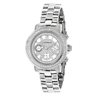 Luxurman Women's 2ct Diamond Chronograph Watch Metal Band plus Extra Leather Straps
