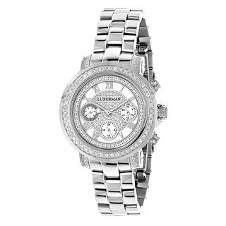 Luxurman Women's 2ct Diamond Chronograph Watch Metal Band plus Extra Leather Straps