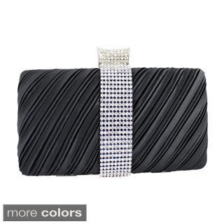 Jacki Design Satin Dazzling Rhinestone Rectangle Clutch Purse