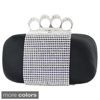 Jacki Design Satin Rhinestone Knuckle Ring Clutch