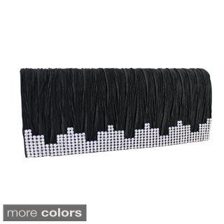 Jacki Design Satin Dazzling Rhinestone Rectangle Clutch Evening Bag