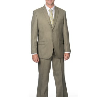 Caravelli Men's Slim Fit Tan Shark Pattern 2-button Suit