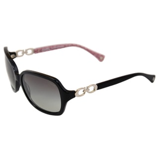 Coach Women's 'Beatrice 0HC8019 503411' Black Oval Plastic Sunglasses