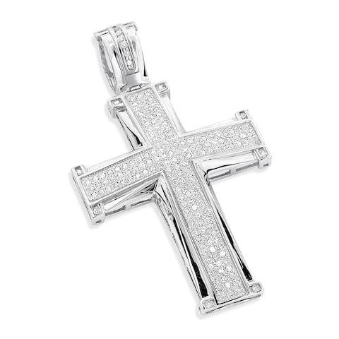 Luxurman 10k Gold 1ct TDW Diamond Cross Pendant (H-I, SI3)